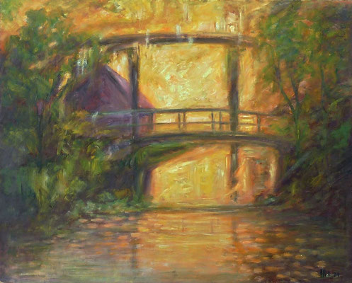 12) Hans Pick: Brücke im Sonnenlicht (80 x 120) Verkauft