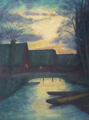 19) Hans Pick: Bootshäuser in Fischerhude (80 x 60) Verkauft