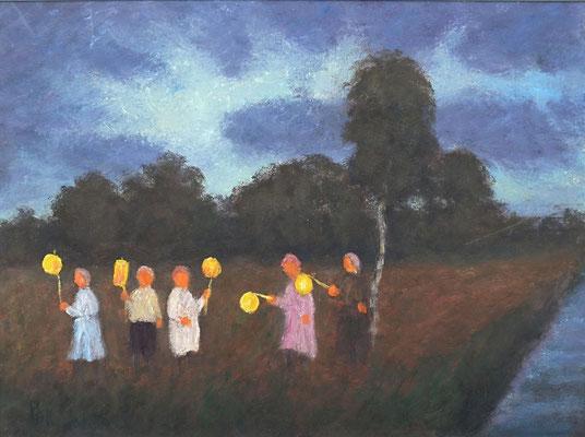 24) Hans Pick: Laternenkinder (18 x 24) Verkauft