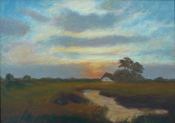 28) Hans Pick: Sonnenuntergang im Teufelsmoor (50 x 70) Verkauft