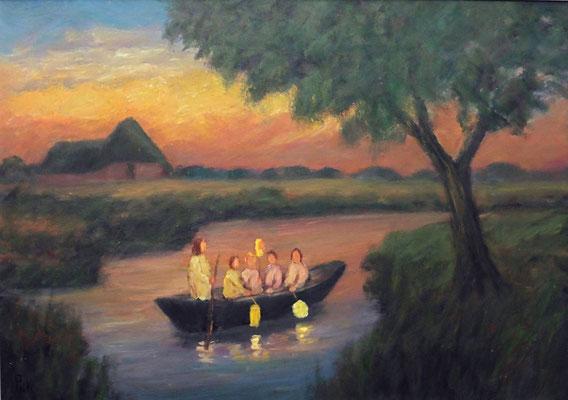 14) Hans Pick: Laternenkinder im Boot (50 x 70)  Verkauft
