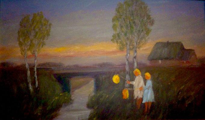 40) Hans Pick: Laternenkinder am Moorkanal (25 x 40) Verkauft