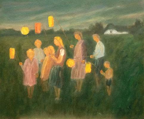 70) Hans Pick: Laternzug (60 x 80) Verkauft