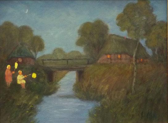 49) Hans Pick: Laternenkinder am Graben (30 x 40) Verkauft