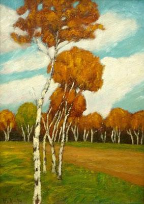 45) Hans Pick: Birken im Moor (70 x 50) Verkauft