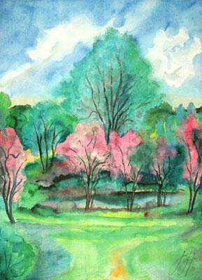 Günter Grass Algraphie: Blühende Bäume am Teich (56 x 75; am Markt erhältlich)