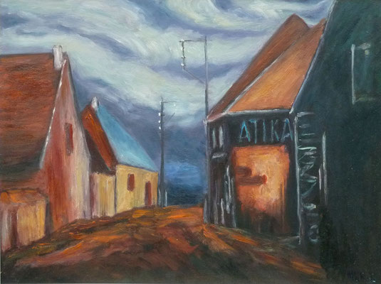 86) Hans Pick: Dorfstraße (24 x 30) Verkauft