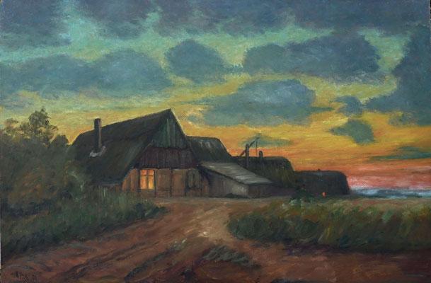 11) Hans Pick: Bauernhaus am Abend (80 x 120) Verkauft
