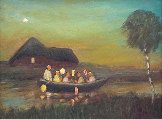 67) Hans Pick: Laternenkinder im Boot (24 x 30) Verkauft