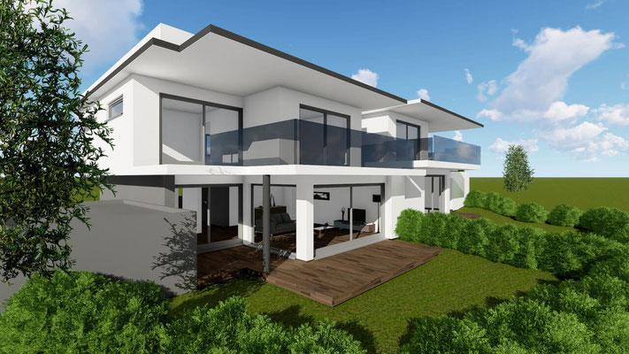 Seitenansicht eines projektierten modernen Doppelhauses mit großzügigen Gärten, Balkonen und freischwebenden Decken