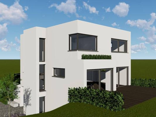 Projektiertes Bauhaus mit Terrasse