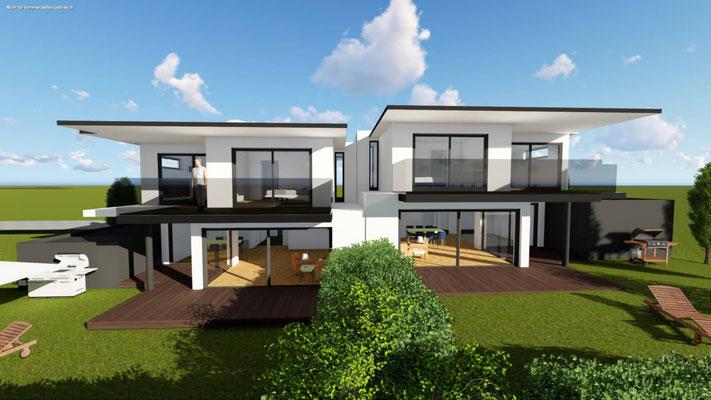 Gartenseite eines projektierten modernen Doppelhauses mit großzügigen Gärten, Balkonen und freischwebenden Decken