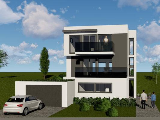 Projektiertes Bauhaus mit Garage