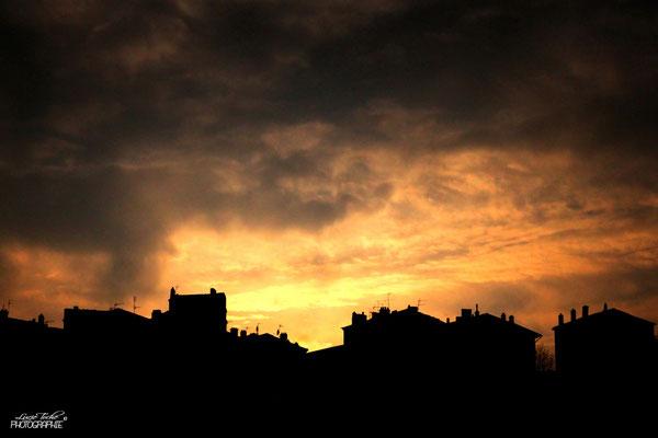 Coucher de soleil orageux, Ardèche.
