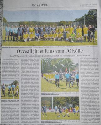 Der General-Anzeiger berichtete ausführlich über das Spiel (Fotos: SSV Heimerzheim)