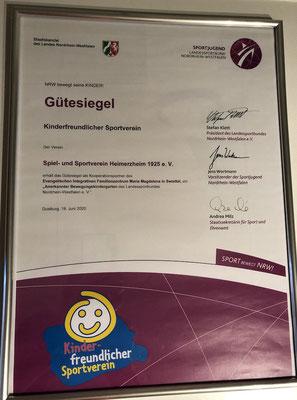 Die Urkunde für den SSV Heimerzheim