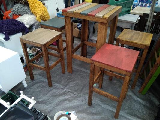 Mesa alta comedor periquera vintage madera 4 bancos mardam - Mesa alta comedor ...