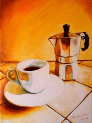 Na tazzulella e' cafè - Olio su tela 30X40