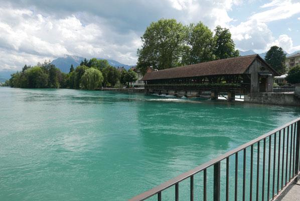See wird  zu Fluss - Thuner Holzbrücke