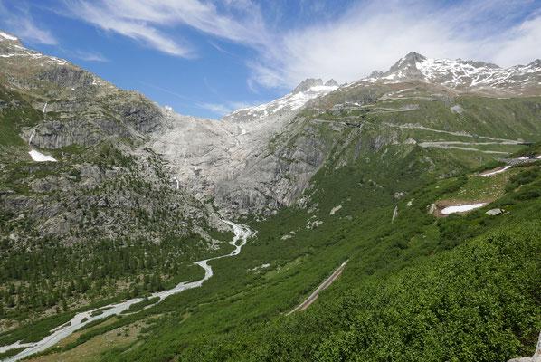 Der Rhone-Gletscher ist bereits massiv geschmolzen