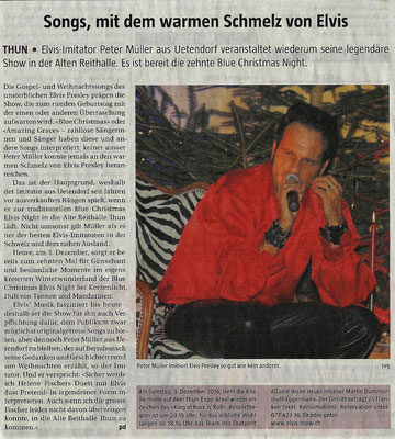 Blue Christmas Elvis Night 2016 Berner Landbote mit Elvis Imitator Peter Müller