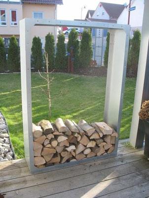 Kaminholzregal Außenbereich aus Metall 1,5m x 1m in verschiedenen Ausführungen