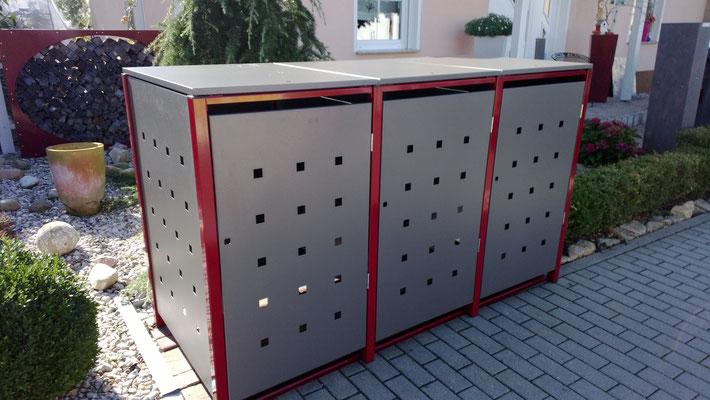 """3er Mülltonnenbox mit Klappdach - Stanzmuster """"ST 3/5"""""""