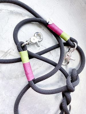 Tauleine Grau | Scherenkarabiner Silber | Takelung Neon Pink, Neon Grün