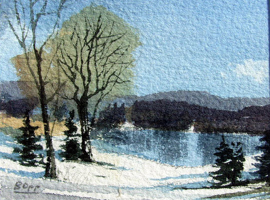 Winter am See / Aquarell