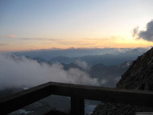 coucher de soleil depuis le refuge Gnifetti