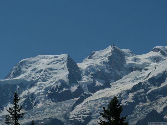 Les trois Monts (Tacul, Maudit et Blanc) depuis la montée aux chalets de Chailloux