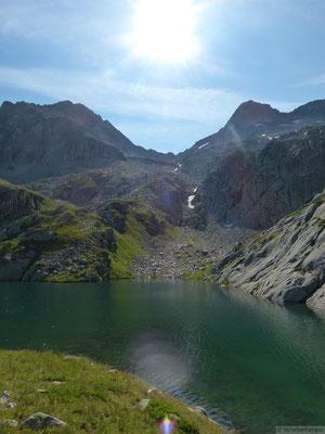 Lac blanc et le montée vers le col de l'Amiante