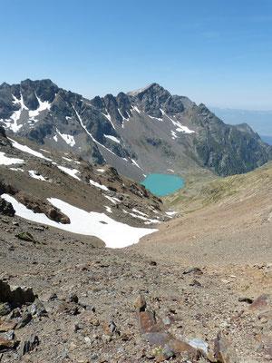 Le lac blanc depuis la montée au col de roche noir