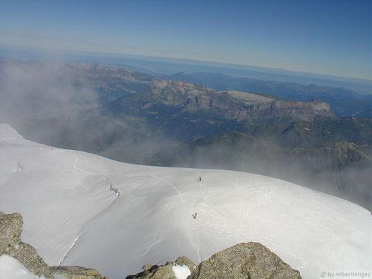 Vu sur l'épaule du tacul depuis le sommet