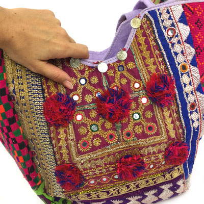 "ethno tote Bag ""red spring"" vintage upcycled traditional original banjara and kutch textiles, fairproduced, fairfashion, slowfashion, unique , ethnobag , ethnic, handcrafted , handmade unique bag , totebag, bag, india"