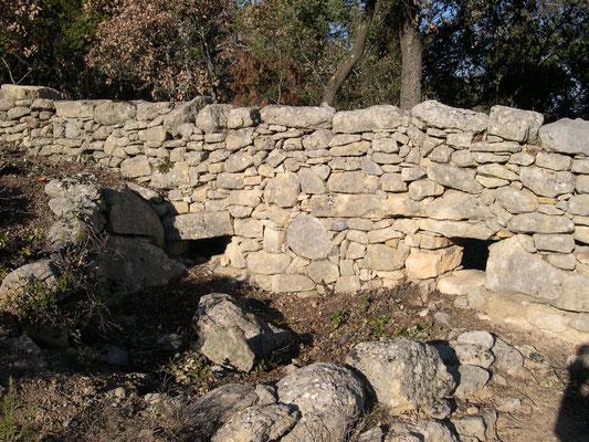 """On ignore le rôle de ces ouvertures en soubassement de mur. Il ne s'agit pas """"d'apié"""". Probablement un sas à garenne, un poste de chasse ou tout simplement un système d'exutoires?"""