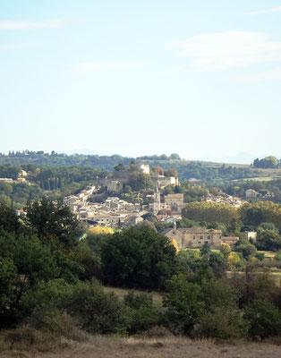 Vue de Mane et du Prieuré de Salagon (au premier plan) depuis le chemin des Craux/Chateauneuf