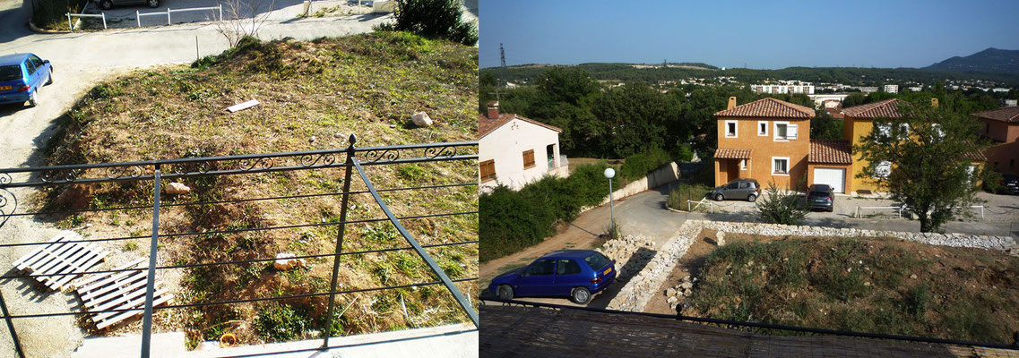 Vue depuis le premier étage de l'habitation avant/après