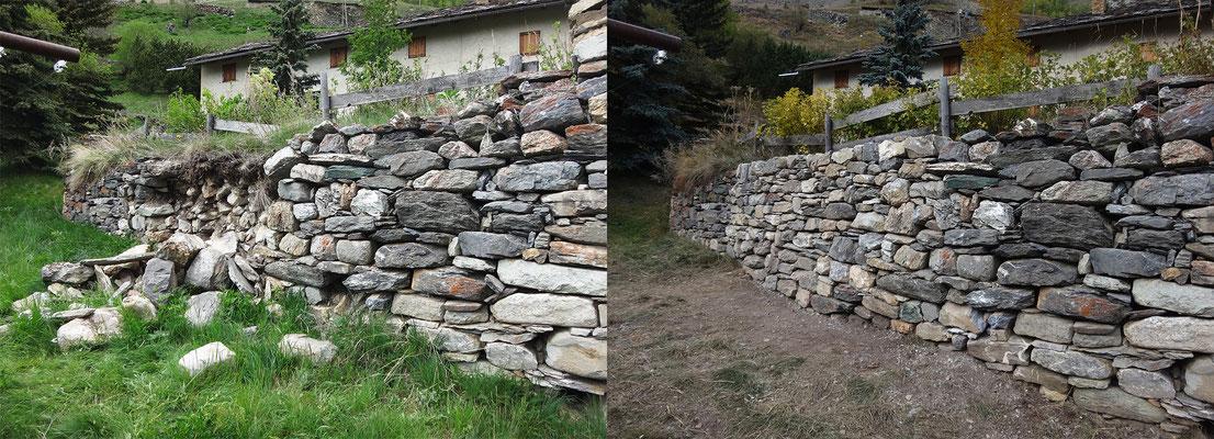 Mur avant et après intervention