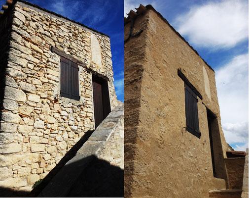 Vue avant/après façade Ouest du bâtiment Sud avec intervention sur cadran solaire