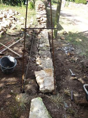 Pose gabarit et pierres de fondation