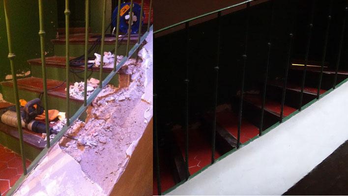 Vue avant/après escalier parties communes d'un immeuble à  Manosque (fait au plâtre)