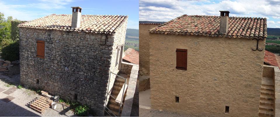 Vue avant/après façade Nord-Ouest du bâtiment Sud