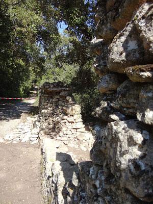 Vue mur de clôture en coupe peu de temps après la purge jusqu'aux fondations