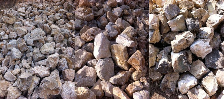 Sélection de pierres dont l'approvisionnement  se fait en carrières de Vence.
