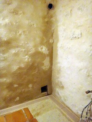 Un enduit spécial formulé est utilisé pour assainir les murs humides et supprime le salpètre. Les traces que l'on observe sont dues à l'extême humidité du support et dispaitront au fil du temps grâce à la perspirance de la chaux