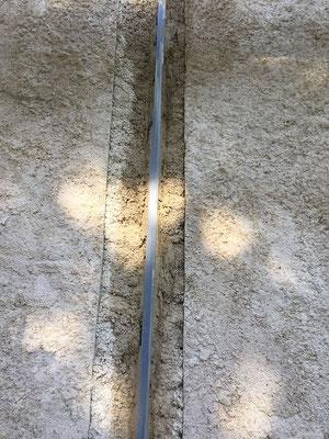 Vue de la pose du joint avec reprise de maçonnerie unilatérale