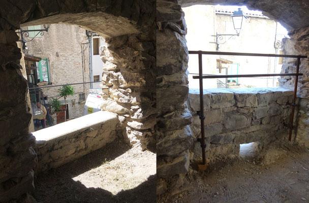 Section 3 AVANT/APRES autre vue - côté chemin de ronde avec rehausse du muret