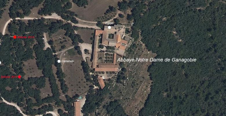 Vue aérienne de l'Abbaye de  Ganagobie avec indication de l'emplacement des chantiers