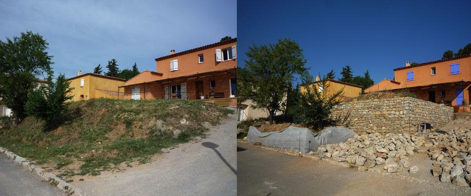Vue 3/4 chantier AVANT (terrassement d'origine) et APRES (avec restanque haute achevée)